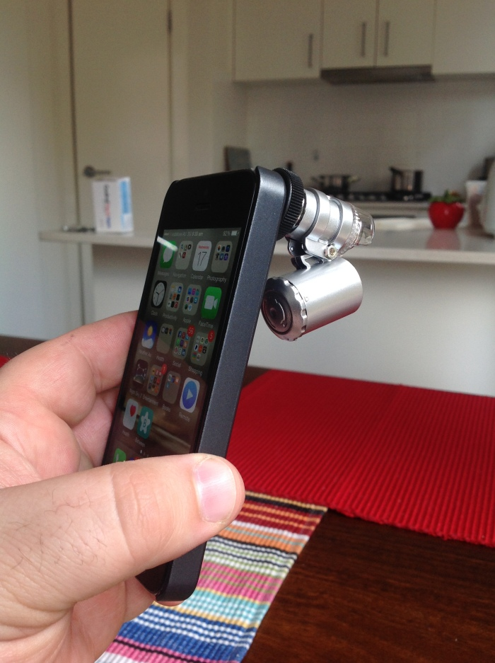 The iPhone microscope - in all its cheap-arse glory.