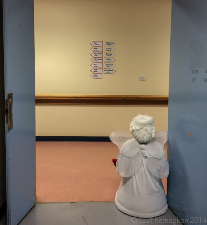 An Angelic snow-man awaits casual staff members to drop by.