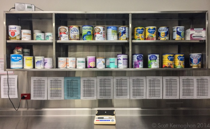 The great catalogue of formula. More cans were kept under the counter.