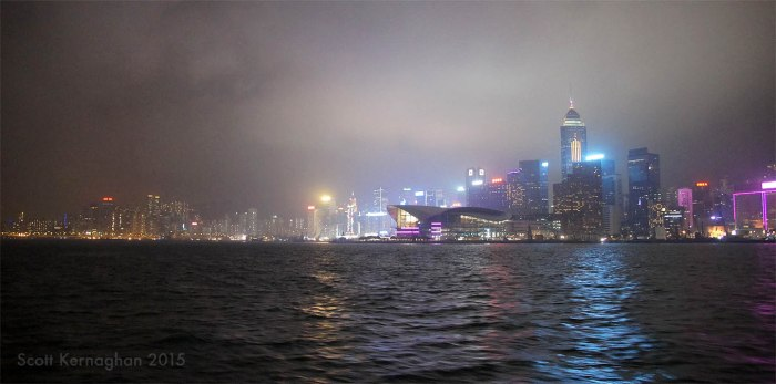 The Hong Kong Exhibition center and the fading away of the city's beautiful lights into the haze - as seen from the Star Ferry.