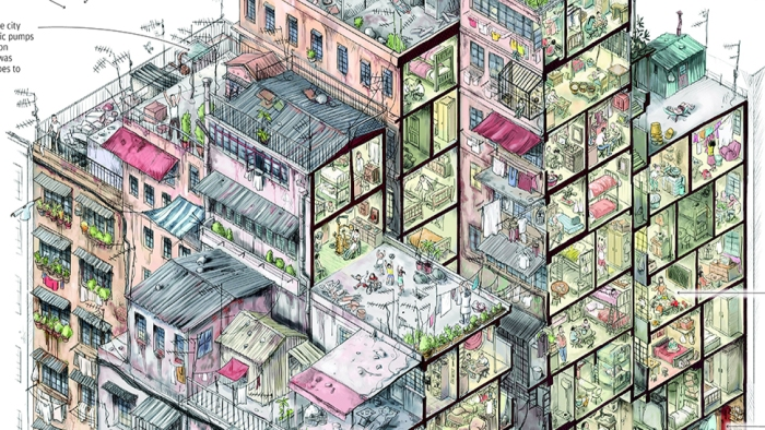 A snippet from a poster detailing life in Kowloon Walled City